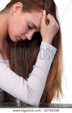 Young woman grieved