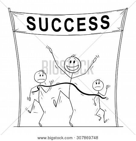 Vector Cartoon Stick Figure Drawing Conceptual Illustration Of Victorious Man, Who Is First On The F
