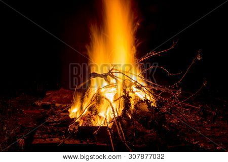 Campfire In The Night For Backgrounds And Compositions