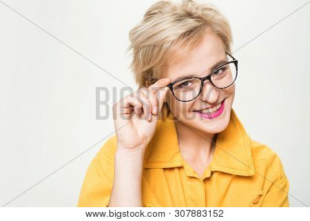 Woman Smiling Blonde Wear Eyeglasses Close Up. Eyewear Fashion. Add Smart Accessory. Stylish Girl Wi
