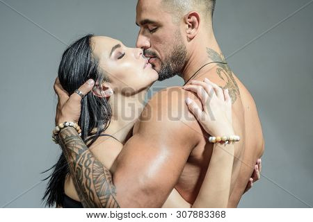 Young And Passionate. Couple In Love. Sexy Couple Of Girlfriend And Boyfriend Hugging And Kissing. C