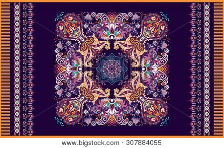 Colorful Ornamental Vector Design For Rug, Carpet, Tapis. Persian Rug, Towel, Textile. Geometric Flo