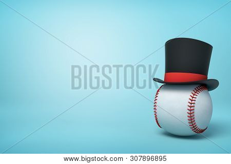 3d Rendering Of Baseball Wearing Black Tophat With Much Copy Space On The Rest Of Light Blue Backgro