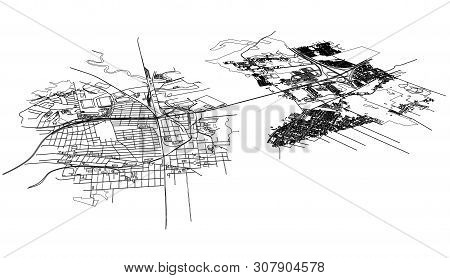 Outline City Concept Vector. Wire-frame Style. The Layers Of Visible And Invisible Lines. 3d Illustr