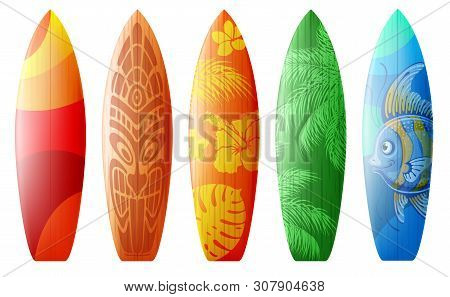 Surfboards Set With Different Bright And Unusual Pattern Designs. Realistic Style. Vector Illustrati