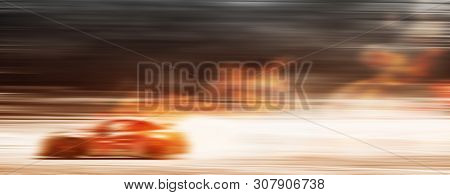 Sport Car Wheel Drifting. Motion Blurred Of Image Diffusion Race Drift Car With Fire Clouds On Speed