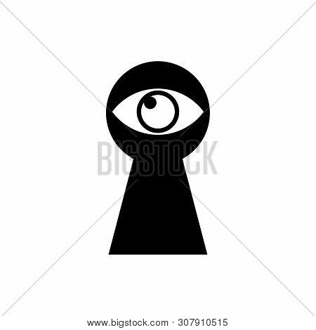 Black Keyhole With Eye Icon Isolated. The Eye Looks Into The Keyhole. Keyhole Eye Hole. Vector Illus