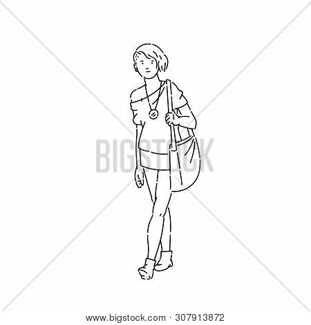 Young Teen Girl With Stylish Haircut And Clothes Vector Line Art Sketch Flat Black White Isolated Il