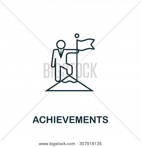 Achievements Vector Icon Symbol In Outline Style. Creative Sign From Human Resources Icons Collectio