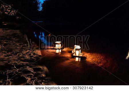 Toro Nagashi Floating Lanterns At The Obon Festival