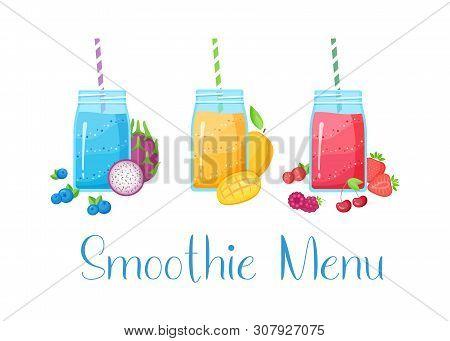 Set Of Smoothie Fruit Cocktail Flat Vector Illustration. Tasty Natural Fruit, Jar With Colorful Laye