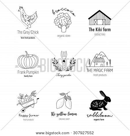 Hand Drawn Farm Logo Set In Doodle Style