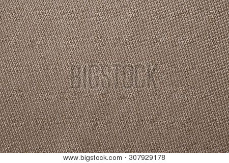 Brown Fabric Texture Of Sackcloth. Clothing Background. Cloth Backdrop. Pattern Of Sacking, Bagging.