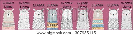Big Set Of Cute Funny Different Llamas. Hand Drawn Vector Illustration. Scandinavian Style Flat Desi