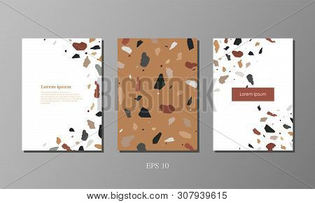 Business Cards, Cover, Booklet In Granite Style. Simple Granite Background. Vector Illustration