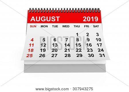2019 Year Calendar. August Calendar On A White Background. 3d Rendering