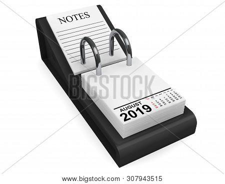 2019 August Calendar. August Calendar On A White Background. 3d Rendering