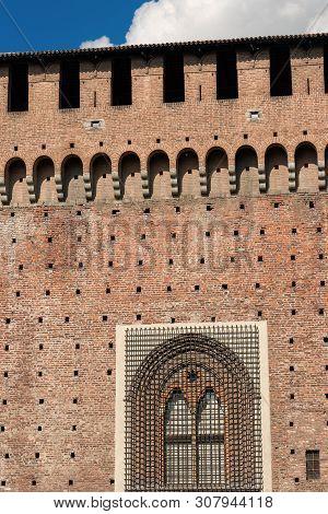 Sforza Castle Xv Century (castello Sforzesco) Milan, Lombardy, Italy, Europe. Detail Of An Ancient W