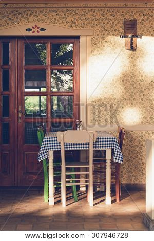 Old Vintage House With Dining Table. Dinner In Vacation. Dining Room In Old House. Vintage Dining Ro