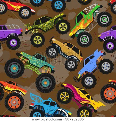 Monster Truck Show Vector Cartoon Vehicle Or Car And Extreme Transport Illustration Set Of Heavy Mon