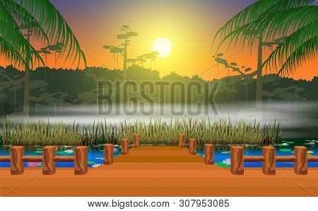 Landscape Of Wooden Walkway At The Swamp In The Morning