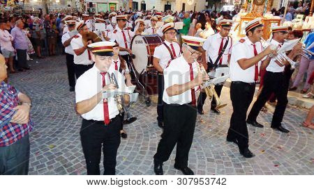 Xewkijs, Gozo,malta -circa June 2019 -village Band Club In  Church Procession At The Village Of Xewk