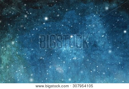 Abstract Galaxy Painting. Watercolor Cosmic Texture With Stars. Night Sky. Milky Way Deep Interstell