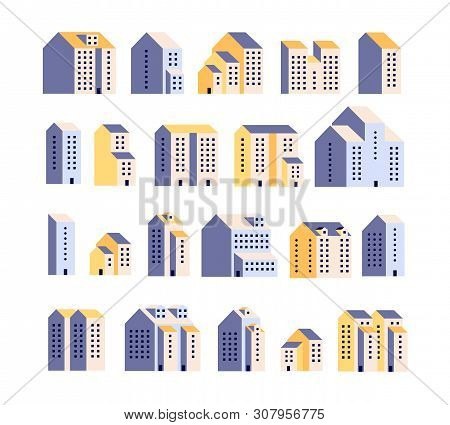 Minimal Apartment Houses. Residential Buildings, Urban City Homes, Town Graphic. Architecture Flat V