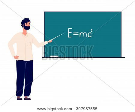 Teacher Professor At Blackboard. Man Teaching Physics In Classroom College. Online Education And Bac