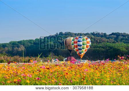 Chiangrai Thailand - Febuary 13 2019 : Singha Park Chiangrai International Balloon Fiesta 2019 In Si