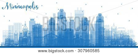 Outline Minneapolis Minnesota USA Skyline with Blue Buildings. Business Travel and Tourism Concept with Modern Architecture. Minneapolis Cityscape with Landmarks.