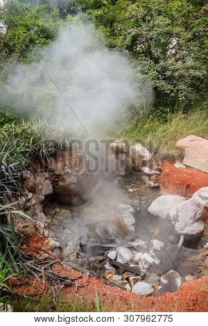View of boiling mud pot in Rincon de la Vieja National Park in Costa Rica