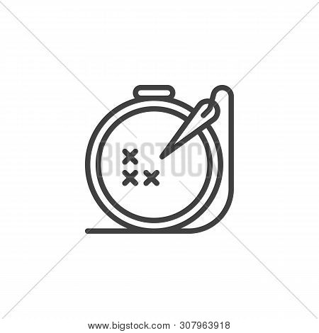Needle And Embroidery Frame Line Icon. Linear Style Sign For Mobile Concept And Web Design. Handmade