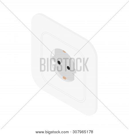 White Electric Socket Vector Illustration. European Socket Isometric View
