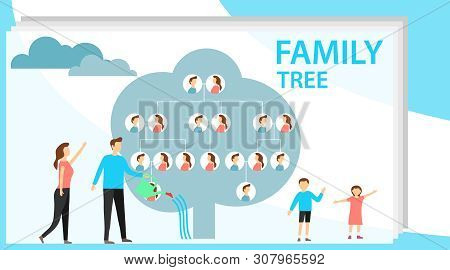 Family Tree In Modern Flat Illustration. A Man Is Watering A Family Tree With Photos Of Relatives, A
