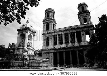 Fontaine Saint-sulpice Black And White Photo. Paris, France.