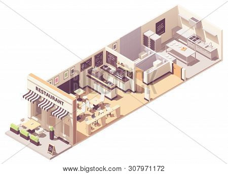 Vector Isometric Restaurant Or Cafe Interior Cross-section. Outdoor Table Under Awnings, Indoor Hall