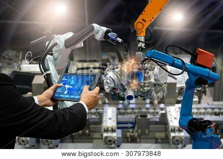 Manager Engineer Touch Screen Control Automation Robot Arms The Production Of Factory Parts Engine M