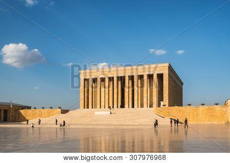 Ankara, Turkey - October 15, 2018: Turkish people visiting Ataturk Mausoleum, Anitkabir, monumental tomb of Mustafa Kemal Ataturk, first president of Turkey in Ankara.