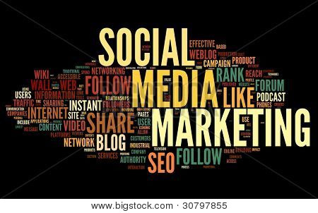 poster of Social media marketing concept in word tag cloud on black background