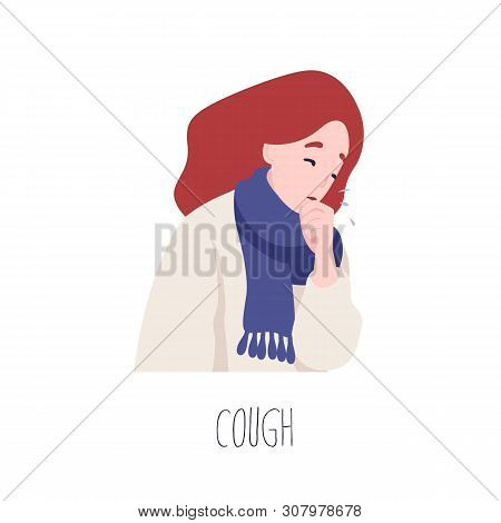 Adorable Female Character Coughing. Symptom Of Influenza, Health Problem, Viral Infectious Disease.