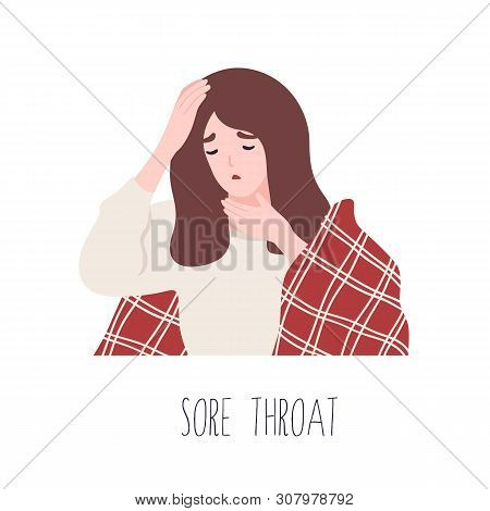 Young Girl Suffering From Sore Throat. Symptom Of Influenza, Viral Infectious Disease For Medical Di