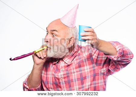 Getting Older Is Still Fun. Elderly People. Man Bearded Grandpa With Birthday Cap And Drink Cup. Bir