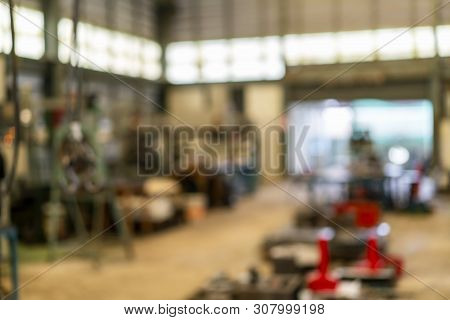 Blur Photo For Background Inside A Building Or Group Of Buildings Where Goods Are Manufactured Or As