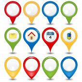 Set of 12 vector pointers and map markers poster