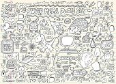 Notebook Doodle Speech Bubble Design Elements Mega Vector Illustration Set poster