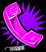 Illustration of a telephone receiver with cord poster