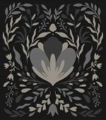 Ethno folk decorative floral ornament. Symmetry specular composition. Drawing abstract ornament.Vector illustration poster