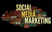Social media marketing concept in word tag cloud on black background poster