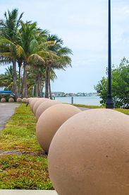 Cement Balls Of Art Just After A Storm At Bird Key Car Park - Sarasota, Florida -